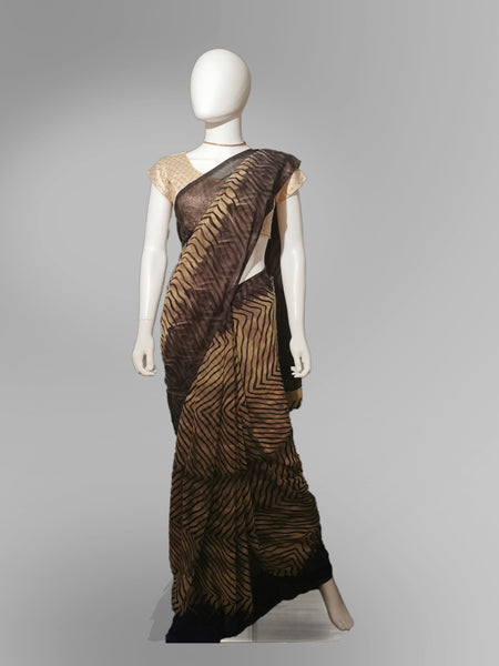 Saree in Coffee Brown with Striped Print Design - IFX