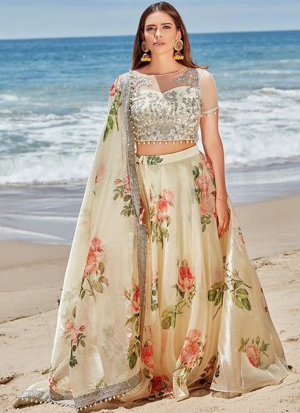 Lehenga in Light Yellow Floral Organza - IFX