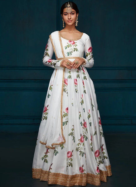 Anarkali in White Floral Printed Satin