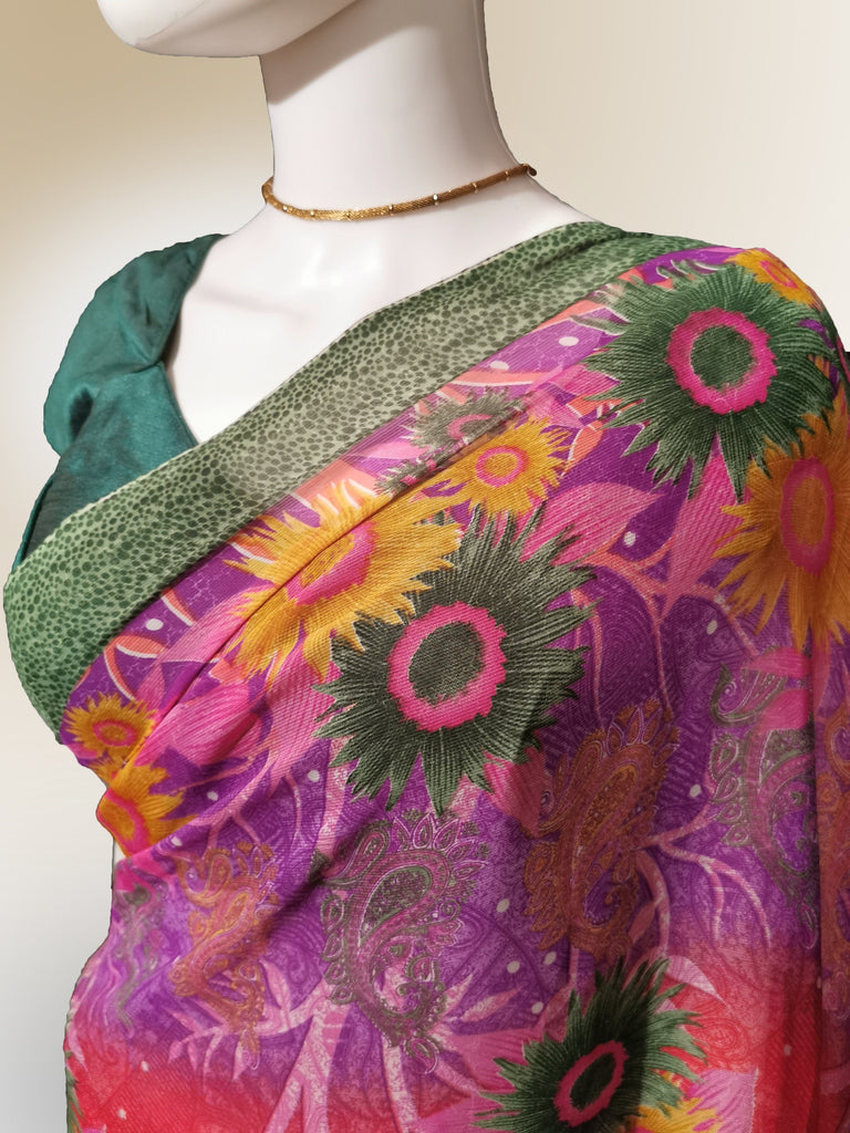 Saree in Tropical Floral Motif
