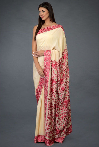 Saree in Light Fawn Pink Featured in Embroidered Crepe