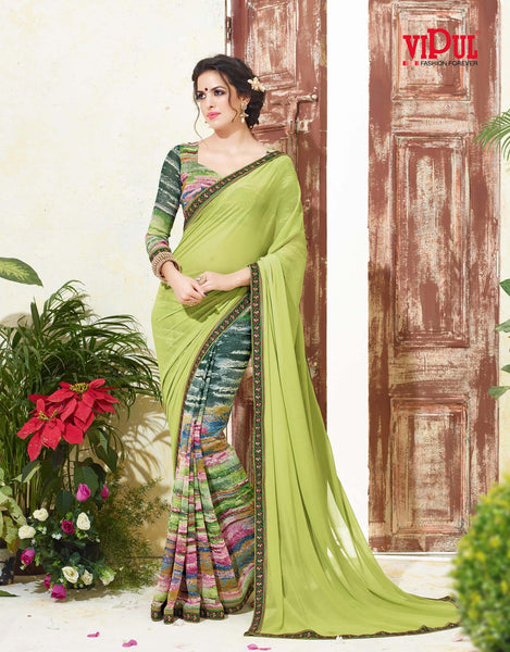 Women's Party wear Green Georgette Printed Saree - Saree Safari, Buy