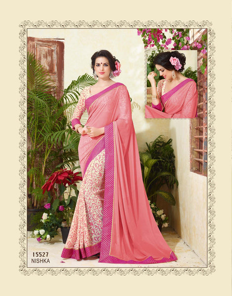 Women's Party wear Pink+Cream Georgette Printed Saree - Saree Safari, Buy