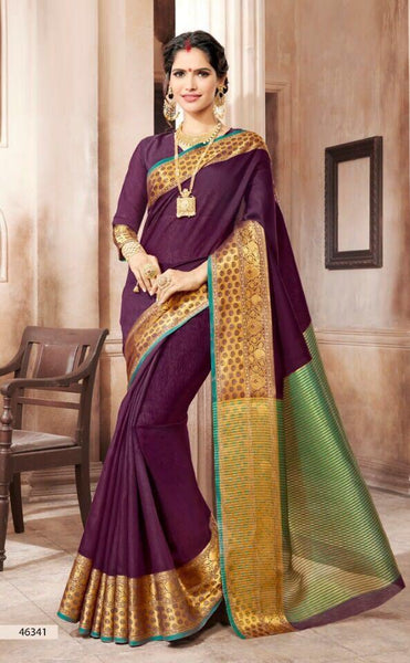 Khadi Faux Silk Saree Collection- purple - Saree Safari, Buy