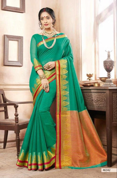 Khadi Faux Silk Saree Collection- green - Saree Safari, Buy