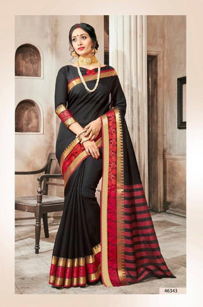 Khadi Faux Silk Saree Collection- black - Saree Safari, Buy