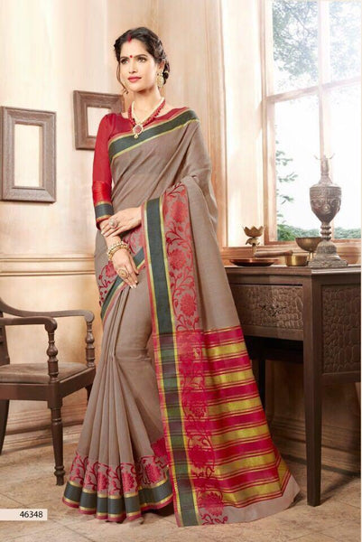 Khadi Faux Silk Saree Collection- gray - Saree Safari, Buy