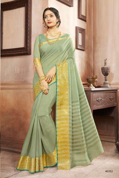 Khadi Faux Silk Saree Collection- light green - Saree Safari, Buy