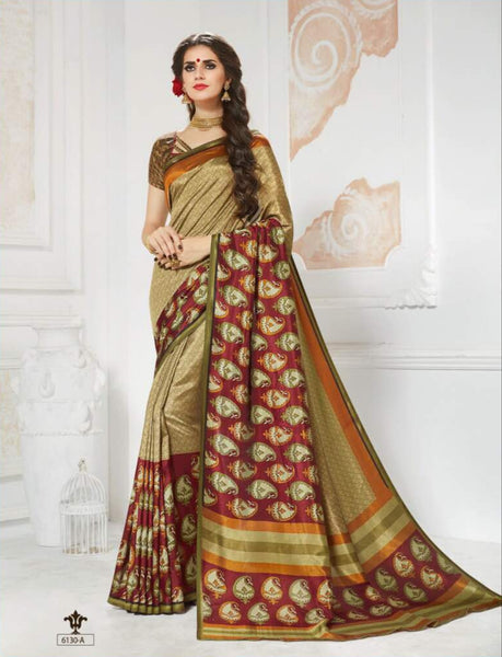 Vinamrita Faux Saree Collection- gold 2 - Saree Safari, Buy