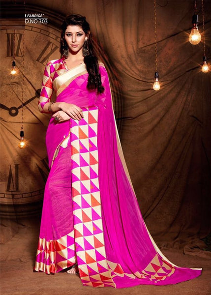 Party wear contemporary print trim sarees - pink beige - Saree Safari, Buy