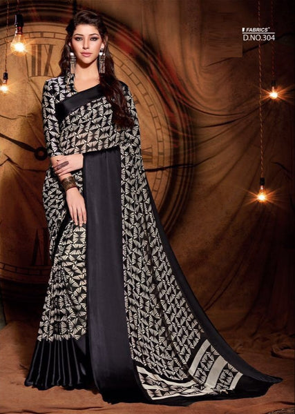 Party wear contemporary print trim sarees - black - Saree Safari, Buy