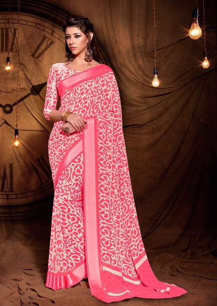 Party wear contemporary print trim sarees - pink - Saree Safari, Buy