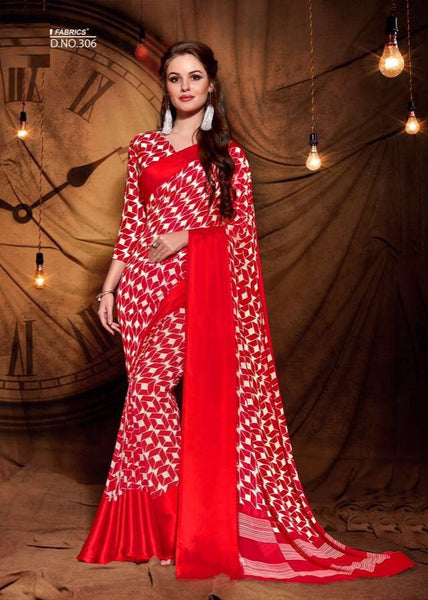 Party wear contemporary print trim sarees - red - Saree Safari, Buy