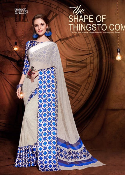 Party wear contemporary print trim sarees - blue - Saree Safari, Buy