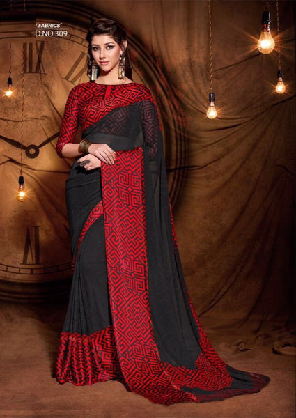 Party wear contemporary print trim sarees - black 2 - Saree Safari, Buy