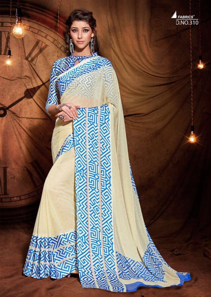 Party wear contemporary print trim sarees - cream - Saree Safari, Buy