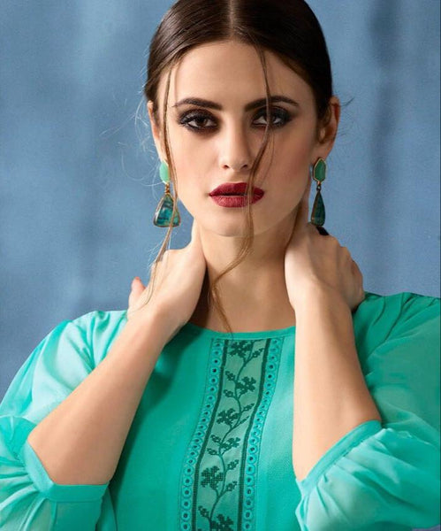 Kajri Silk Soft Kurti Collection - teal - Saree Safari, Buy