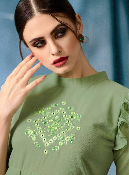 Kajri Silk Soft Kurti Collection - green - Saree Safari, Buy
