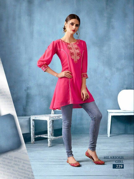 Kajri Silk Soft Kurti Collection - pink - Saree Safari, Buy