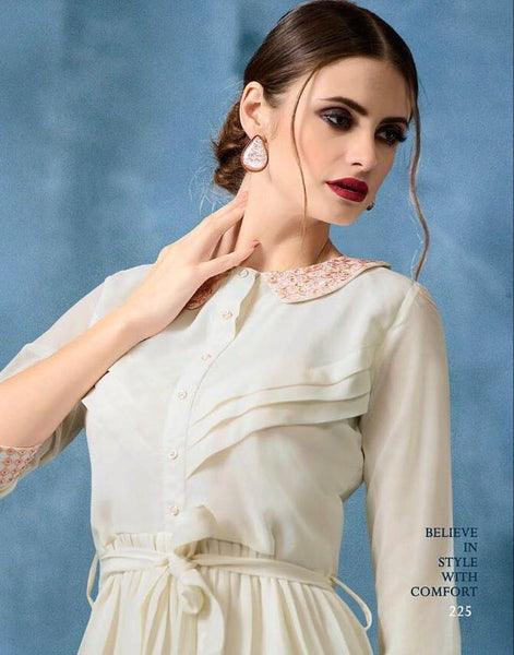 Kajri Silk Soft Kurti Collection - cream - Saree Safari, Buy
