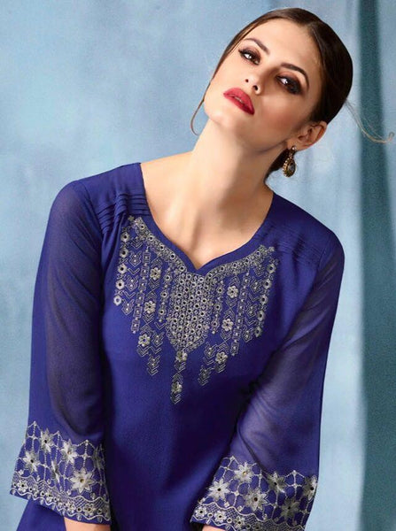 Kajri Silk Soft Kurti Collection - blue - Saree Safari, Buy