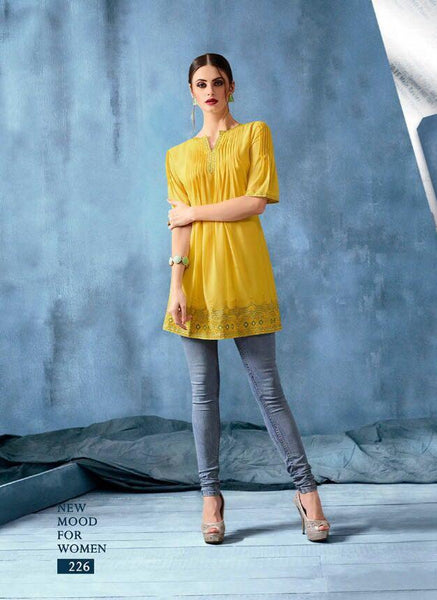 Kajri Silk Soft Kurti Collection - yellow - Saree Safari, Buy