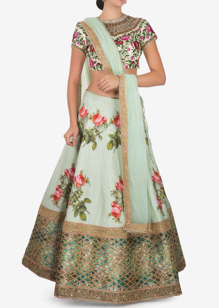 Mint blue lehenga in aw silk with floral print and resham embroidery - Saree Safari, Buy