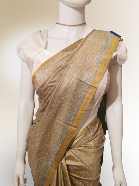 Saree in Yellow, Bronze and Gold in Traditional Print