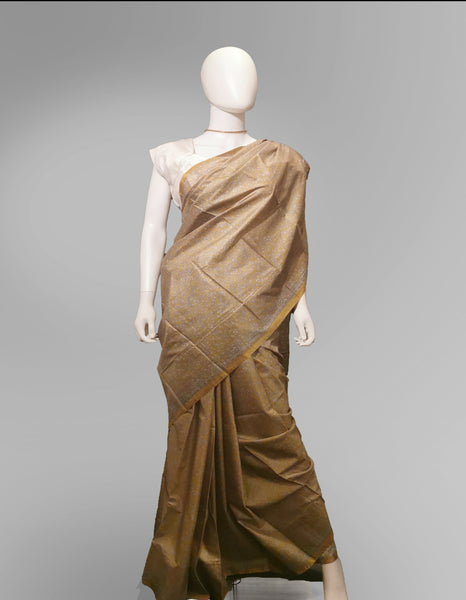 Saree in Yellow, Bronze and Gold in Traditional Print - IFX