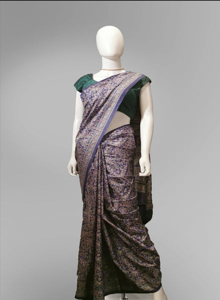 Saree in Purple and Pink Featured in Traditional Style Print