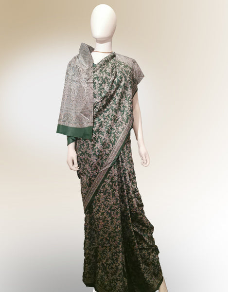 Saree in Green and Pink Featured in Traditional Style Print