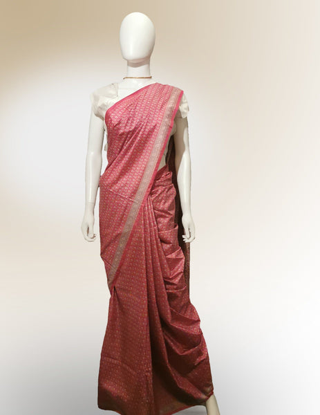 Saree in Pink and Gold in Traditional Print - IFX