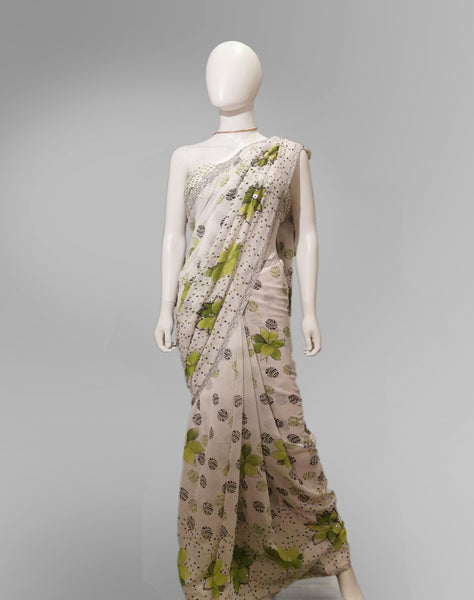 Saree in White and Green Floral Featured with Sequin Work - IFX