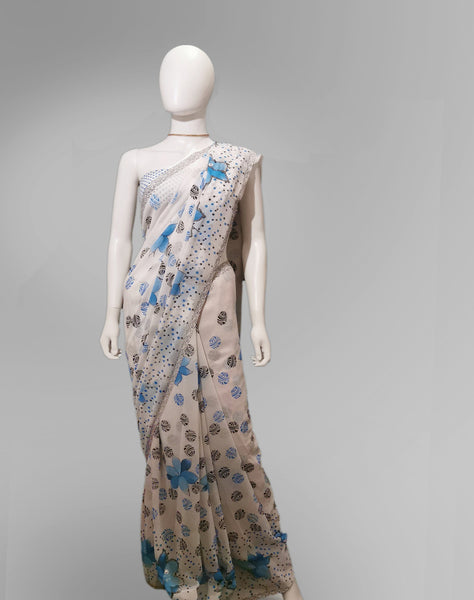 Saree in White and Blue Floral Featured with Sequin Work - IFX
