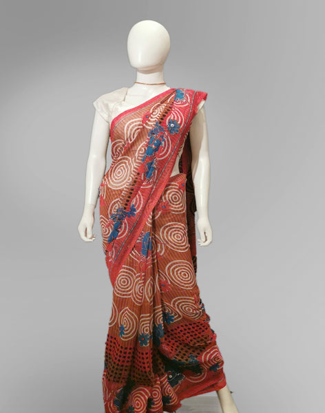 Saree in Tomato Red and Blue Floral with Sequin and Print Work - IFX