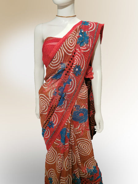 Saree in Tomato Red and Blue Floral with Sequin and Print Work