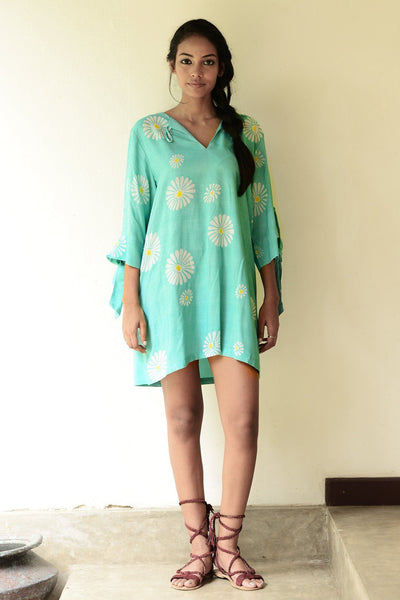Batik printed floral dress shift with sleeve ties