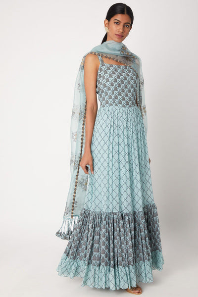 Anarkali in Sky Blue with Ruffled Print - IFX