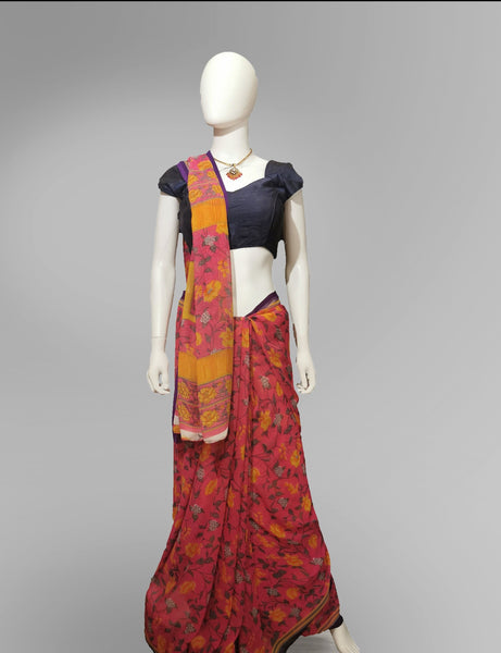 Saree in Mango and Pink Floral Motif - IFX