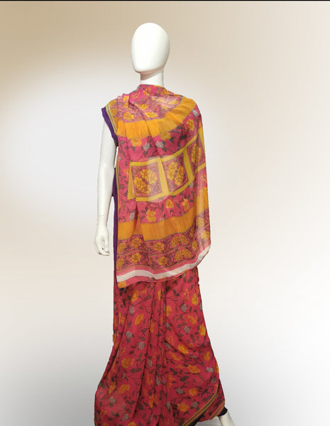Saree in Mango and Pink Floral Motif
