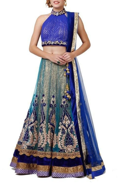 Blue Sequinned & Embroidered Lehenga Set - Saree Safari, Buy