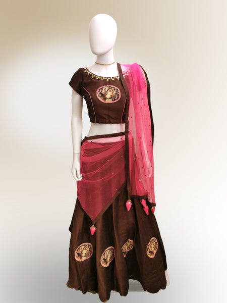 Lehenga in Mocha Brown and Pink featured in Cotton Silk
