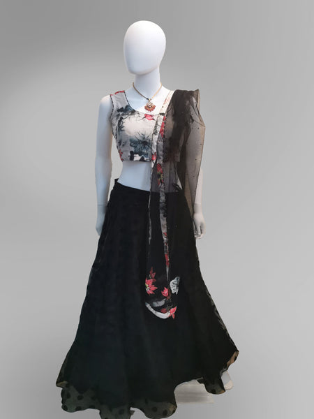Lehenga in Floral motif and Off-White and Black Scheme - IFX