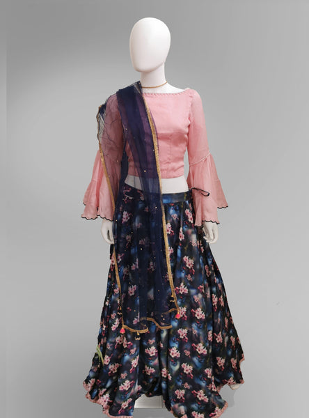 Lehenga in Pink and Blue Pearl Motif with Puffy Long Sleeves