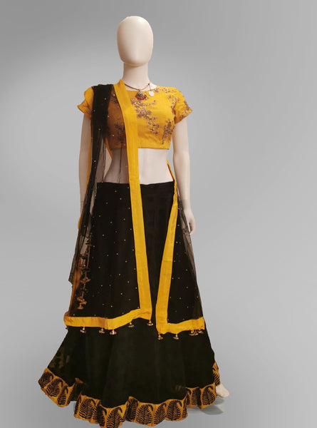 Lehenga in Black and Yellow with Polka Dot Skirt and Buttoned Blouse