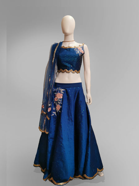 Lehenga in Deep Sea Blue in Floral Motif and Shimmer Blouse - IFX