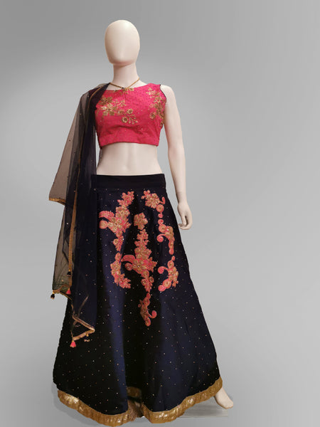 Lehenga in Pure Silk Navy Blue and Pink with Floral Motif - IFX