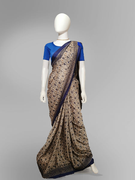 Saree in Bronze and Blue Print - IFX
