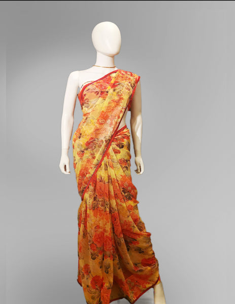 Saree in Orange Yellow Pastel Floral Design with Sequin Work - IFX