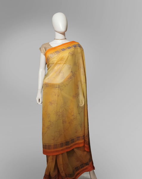 Saree in Orange Yellow with Light  Print Work - IFX